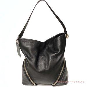 Vince Camuto Jeri Hobo Black Leather Shoulder Bag